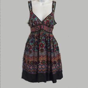 Anthropologie Fei Retro Flower Silk Tie Back Dress
